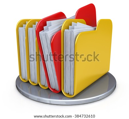 Row of folders and files in the design of the information in their search for the right information - stock photo
