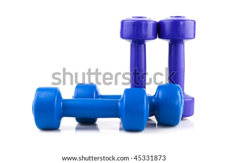 row of four color dumbbell  isolated on white - stock photo