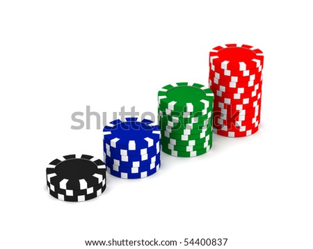 Row of game chips isolated on white background. High quality 3d render.