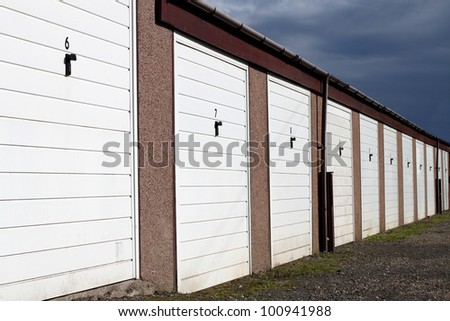 Row of Garage Lock Ups in Urban Area