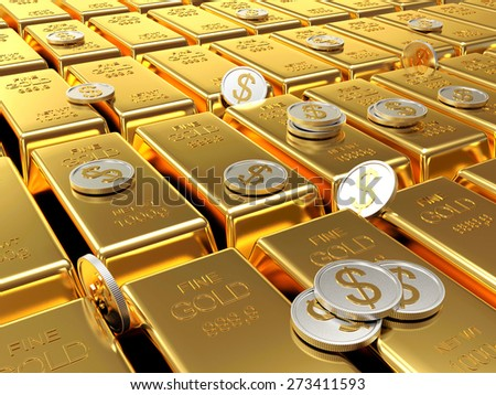 Row of golden bars and silver coins. Business and financial background