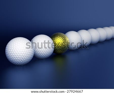 Row of golf balls on a dark blue background