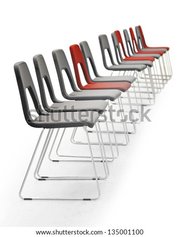 Row of grey and red chairs isolated on white - stock photo