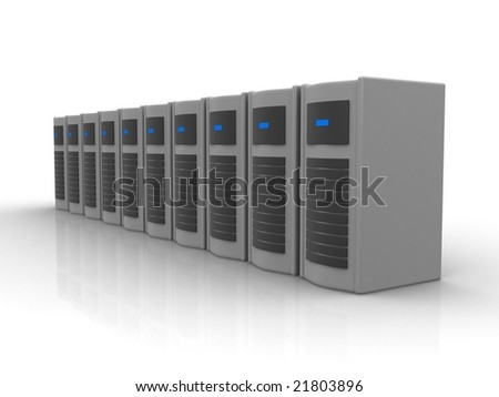 Row of grey servers