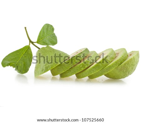 row of guava isolated on white background - stock photo