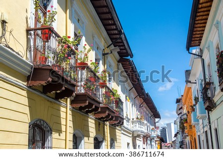 Row of historic colonial balconies in the center of Quito, Ecuador - stock photo