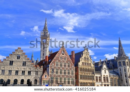 Row of historical buildings in Ghent old town, Belgium