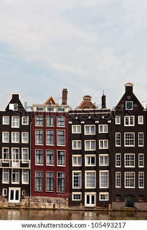 Row of historical canal houses in Amsterdam