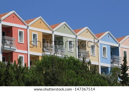 row of houses in loud colors