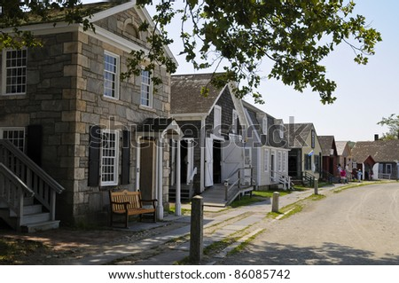 Row of Houses, Mystic Seaport, Mystic, Connecticut, USA - stock photo