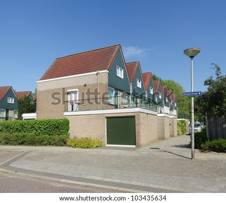 row of identical detached houses in Oldenzaal, Netherlands