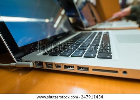 Row of laptops. - stock photo