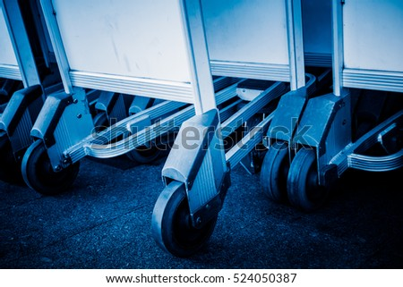row of luggage cart in airport of Hong Kong,China.