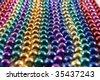 Row of Mardi Gras beads - stock photo