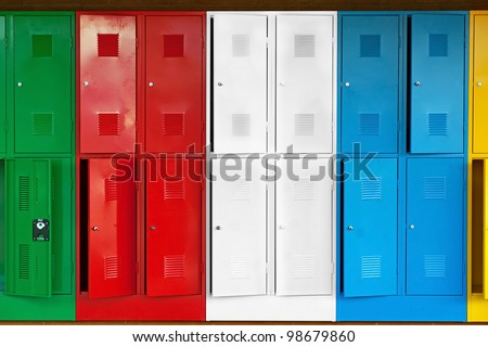 Row of metal lockers in different colors - stock photo