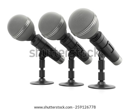 Row of microphones on white background. 3d render - stock photo