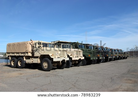 Row of military vehicles - stock photo