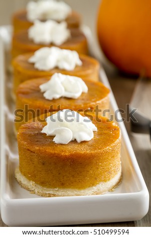 Row of mini pumpkin pies with whipped cream sitting on white platter with fresh pumpkin in background