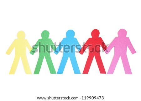 Row of mufti-coloured paper cut out figures over white background