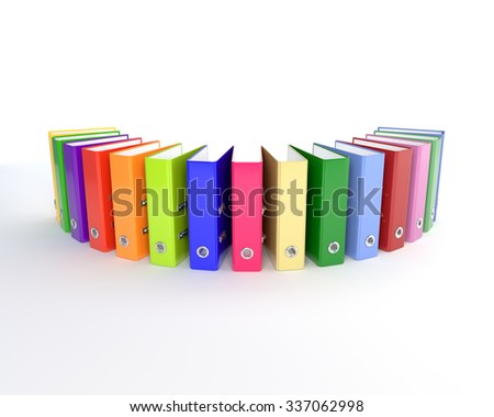 Row of multi-colored office folders on a white background. 3D illustration, render. - stock photo