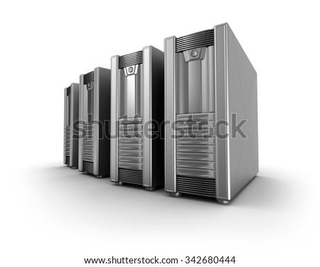 Row of network servers over white  - stock photo
