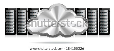 Row of Network Servers with Cloud - Information technology conceptual image - Raster Version