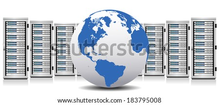 Row of Network Servers with Globe - The base map is from NASA and Hand Drawn using the pen tool for maximum detail - Raster Version - stock photo