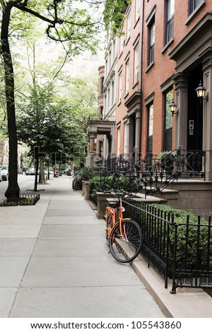 Row of old houses at Brooklyn Heights, New York City, USA - stock photo