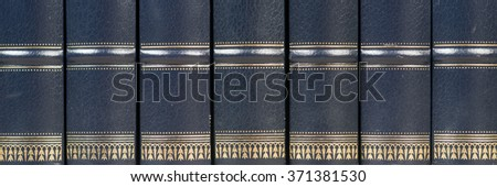 Row of old leather books on a shelf - stock photo