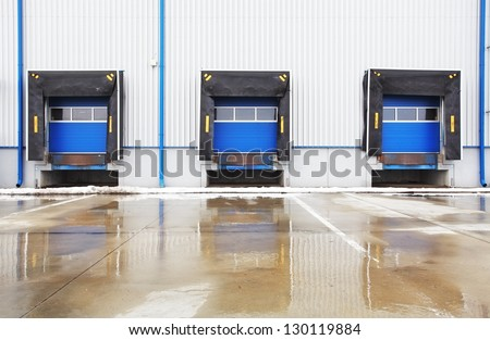 row of old loading docks - stock photo