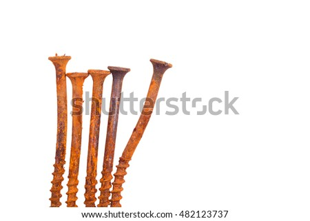 Row of old rusty dirty nuts. On white background isolated. For edge decoration.