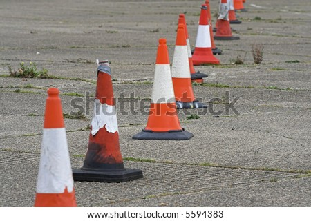 Row of Old Traffic Cones