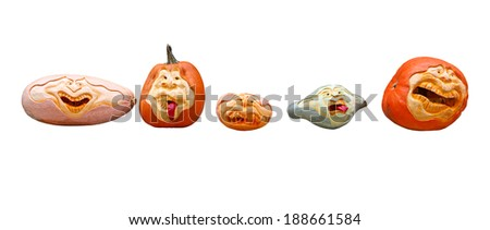 Row of pumpkin halloween heads isolated on white background - stock photo