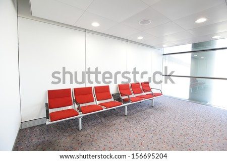 row of red chair at airport, shot in asia, hong kong