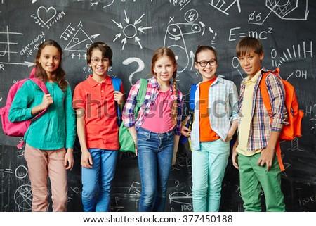Row of schoolkids - stock photo