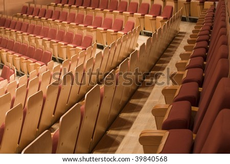 row of seats at the Philharmonic - stock photo