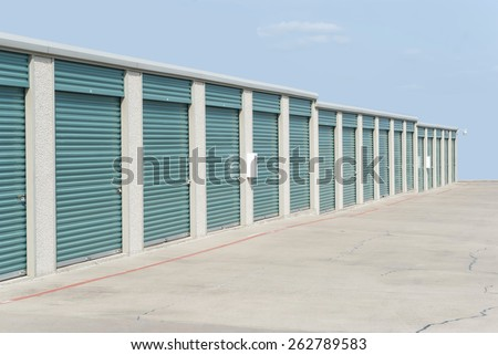 Row of self-storage units on a sunny day