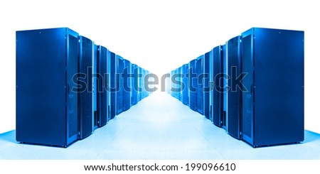 row of server racks with strong light from the end - stock photo