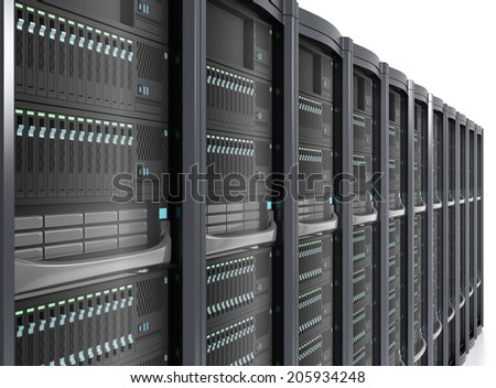 Row of server system in perspective view - stock photo