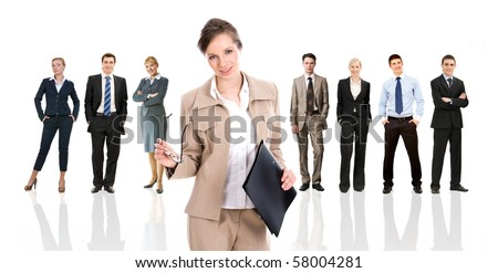 Row of several business people in different poses with pretty leader in front