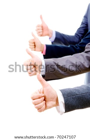 Row of several human hands showing thumbs up over white background