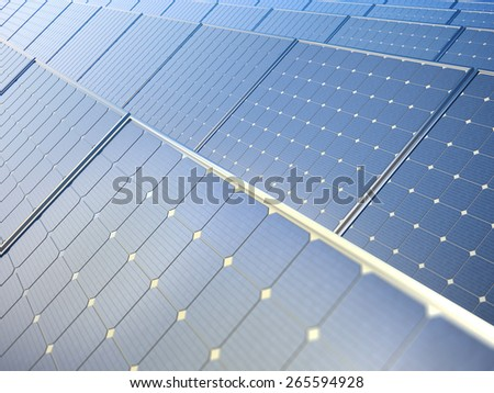 Row of solar photovoltaic panels - renewable energy concept - stock photo