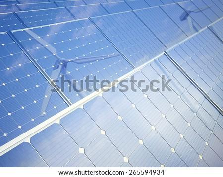 Row of solar photovoltaic panels - renewable energy concept - stock photo