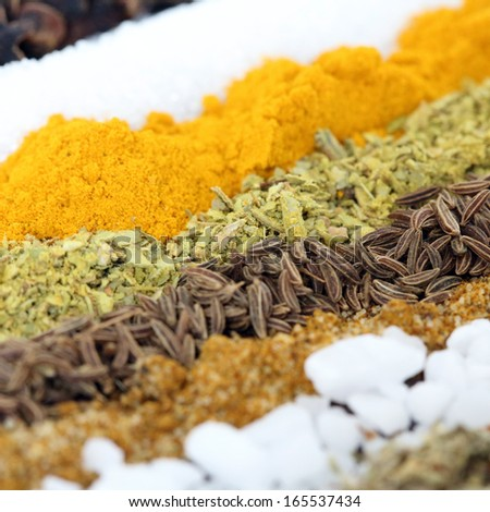 Row of spices - square background - stock photo