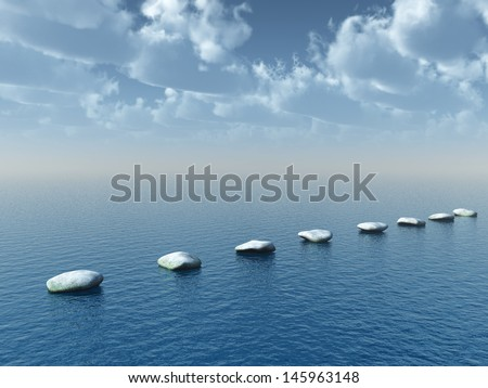 row of stones at water - 3d illustration - stock photo