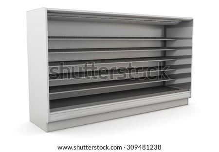 Row of supermarket shelves on a white background. 3d illustration. - stock photo