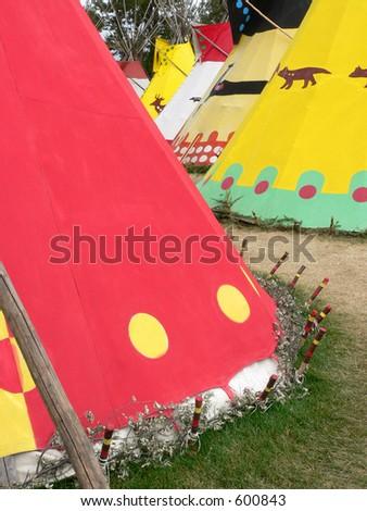 Row of Tepees - stock photo