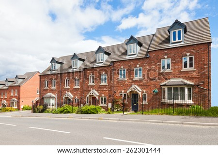 Row of terraced houses - stock photo