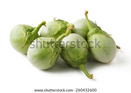 row of Thai eggplant isolated on white - stock photo