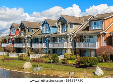 Row of the modern houses in British Columbia, Canada. - stock photo